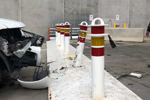 Portable bollard system a safe stop against vehicles