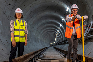 City & Southwest Sydney Metro crews lay the project's first tracks