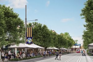 Artist's impression of the Parramatta light rail along East Street. Image courtesy of NSW Government.