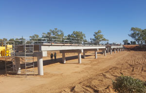 Gascoyne River Bridges Project value: $10.5 million Location: Gascoyne Junction, WA Precaster: Humes Builder: Marine & Civil Engineers: Jacobs Client: Shire of Upper Gascoyne Technical specifications Products supplied: 90 HumeDeck (double reinforced unstressed) bridge units Typical size: Typically 12m long x 2.4m wide Application: Two bridge crossings of 72m and 436m Colour: Grey, off-form Design requirements: A suitable wearing surface; no need for additional topping Duration: Design, manufacture and delivery in three months