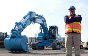A Hitachi Zx360 excavator has been painted blue in an effort to raise awareness for mental illness within the construction industry.
