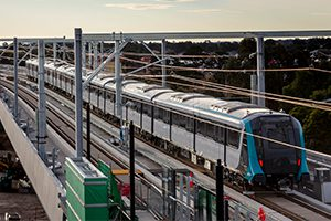 An automated train on a trial run has crossed the Sydney Metro Northwest skytrain bridge for the first time, a major milestone for the project.