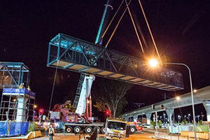 Sydney Metro Northwest's biggest pedestrian bridge placed